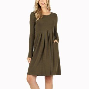 Women's Pleated Empire Waist Long Sleeve Dress